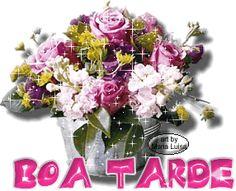 gif animado com brilho nas flores e mensagem de boa tarde