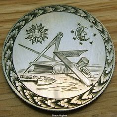 SHAUN HUGHES LOVE TOKEN: MASONIC THEME ON SILVER BRITISH FLORIN Engraving Art, Hobo Nickel, Awesome Stuff, Galleries, Jewelry Art, Coins, Art Gallery, British, Carving