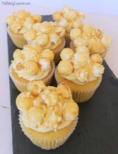 Vanilla sponge, with a hidden caramel centre, topped with salted caramel buttercream and decorated with toffee popcorn. Great for parties!