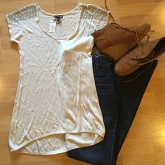 Jeweled Express Top Never worn: perfect condition .. Cream color .. Slight high-low cut Express Tops Tees - Short Sleeve