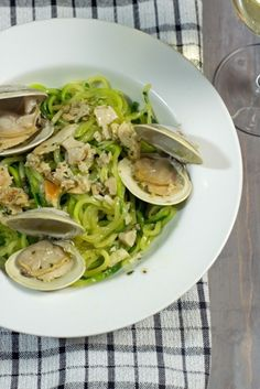 Zoodles (Zucchini Noodles) With Clam Sauce - Turn zucchini into noodle-like swirls then toss with easy homemade clam sauce!