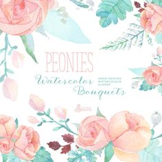 Peonies Watercolor Bouquets: Digital Clipart. Hand painted watercolour floral, wedding diy elements, flowers, invite, printable, blossom by OctopusArtis on Etsy https://www.etsy.com/listing/222970435/peonies-watercolor-bouquets-digital