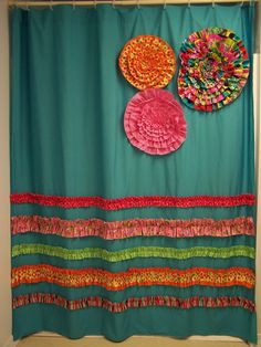 Shower Curtain Custom Made Designer Fabric Ruffles and Flowers Aqua Teal Pink Orange Bright and Fun. $149.00, via Etsy.