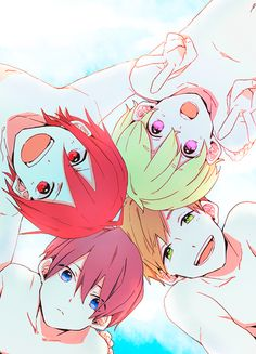 Iwatobi Swim Club ~ Lil' Haruka, Makoto, Nagisa, and Rin Manga Anime, Boys Anime, Anime Art, Ouran Highschool Host Club, Studio Ghibli, Swimming Anime, Super Anime, Splash Free, Free Eternal Summer
