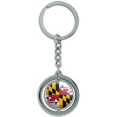 Maryland State Flag Spinning Round Metal Key Chain Keychain Ring, Silver