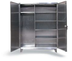Stainless steel wardrobe cabinet with hanger shelf and closet shelves. locking device can be locked with a standard padlock. Stainless Steel Furniture, Stainless Steel Cabinets, Steel Wardrobe, Stainless Steel Staircase, Steel Cupboard, Metal Stairs, Wardrobe Cabinets, Steel Locker, Closet Shelves
