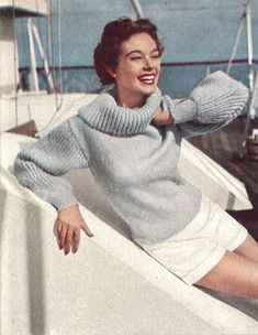 Yachting Pullover • 1950s Sailing Vacation Knitting Sweater • 50s Vintage Vogue Engagement Pattern • 1954 Retro Women's Knit Digital PDF