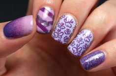 Day 24: Art With the Color You Own the Most of, girly purple nails.