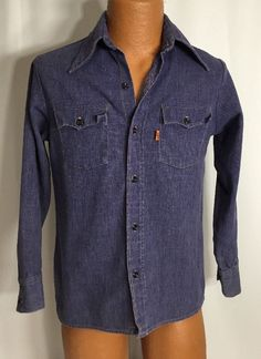 Vintage Levi's Shirt Jean M Mens Sawtooth Denim Dark Western Orange Stitching #Levis #DenimShirtWithSmallSawtoothPockets