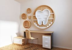 The shelf designed to dentist clinic where you can place the crisis tools for sale that the patient's needs, design expresses the human mouth smiling and highlighting the tooth as a basic element in it. Dental Kids, Dental Art, Dental Office Design, Office Interior Design, Dental Wallpaper, Dentist Clinic, Dental Posters, Dental Office Decor, Cool Bookshelves