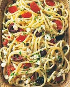 Spaghetti with Tomatoes Black Olives Garlic and Feta Cheese! SO TASTY