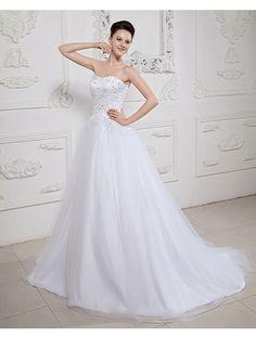 Wedding Dresses Wedding Dresses,Stkittsipa A-line Sweetheart Sleeveless Tulle White Wedding Dress With Beading #Wedding#Dresses