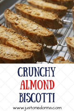 A recipe for crisp and delicious almond biscotti cookies. An easy Italian almond biscotti recipe. The aroma, taste, and texture all make almond biscotti perfect for your mid-afternoon pick me up, or after dinner dessert. Almond Biscotti Recipe Italian, Italian Cookie Recipes, Italian Cookies, Italian Desserts, Delicious Donuts, Delicious Desserts, Yummy Food, Cookie Desserts, Dessert Recipes