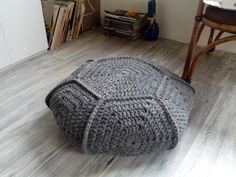 Chunky merino wool gray crochet pouf-ottoman / Gray crochet floor cushion / Crochet footstool
