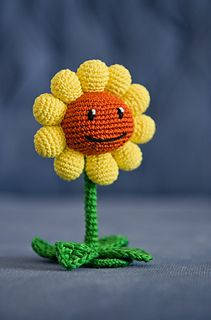 """Crochet Pattern of Sunflower from """"Plants vs Zombies"""" Available on ravelry for…"""