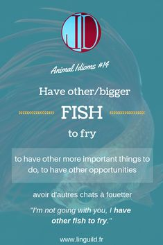 """Animal idiom of the day: """"Have other/bigger fish to fry"""" 🐟 LinguiLD /Idioms/ (Design by LinguiLD) English Phrases, English Idioms, English Grammar, Confusing Words, Advanced English Vocabulary, Writers Help, Fishing For Beginners, English Language Learning, Vocabulary Words"""