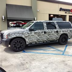 Just wrapped up this Ford Excursion in the satin military gray di - http://www.stickercity.com/sc-vehicle-wraps/just-wrapped-up-this-ford-excursion-in-the-satin-military-gray-di