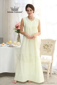 Miss Linda is elegant designs of intimate apparel, Serene comfort cotton nightgowns & soft and lightweight of luxury silk elegance womens sleepwear Night Suit, Night Gown, Cotton Nighties, Night Dress For Women, Sleepwear Women, Cute Woman, Nightwear, Flower Embroidery, Fashion Dresses