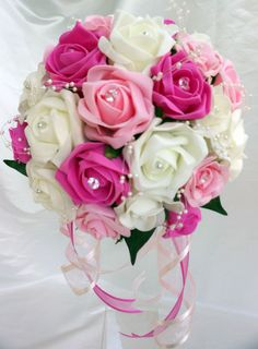 Brides,Bridesmaids,Wedding Bouquet Flowers Fuschia/Light Pink/Ivory