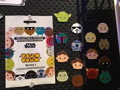 Disney will be releasing a Star Wars tsum tsum Pin set. Characters including, Yoda, Darth Vader, Storm Trooper, Obi-Wan Kenobi, Boba Fett, C-3PO, R2-D2, Tusken Raider, Han Solo, Luke Skywalker, Princess Leia, Jawa, Jabba the Hut, Chewbacca, Ewok, Greedo. Being released in mystery pack, and it says s