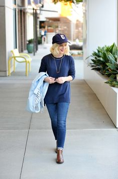 Topshop Blue Raincoat - Poor Little It Girl. Navy sweater+skinny jeans+brown ankle boots+light blue raincoat+gold necklace+navy hat. Fall Outfit 2016