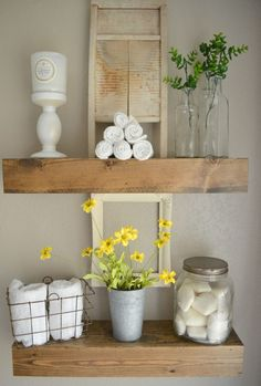 Vintage Farmhouse style bathroom--mixing vintage and modern decor