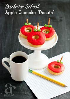 Ruff Draft: Make Apple Cupcake Donuts for School Teachers - Anders Ruff Custom Designs, LLC Back To School Breakfast, Teacher Breakfast, Back To School Party, School Parties, Perfect Breakfast, School Treats, School Snacks, School Gifts, Teacher Gift Tags
