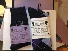 """DIY Grooms """"in case you get cold feet"""" :  wedding cold feet diy groom grooms gift inspiration purple silver socks Cold Feet Front"""
