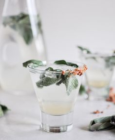 Honey Sage Gin Fizz I howsweeteats.com What you need: - 3 ounces gin - 1/2 – 1 ounce honey sage syrup, depending on your desired level of sweetness (recipe below) - 1/2 ounce fresh lime juice - 5 ounces club soda - fresh sage leaves for garnish  Honey sage syrup: - 1/2 cup honey - 1/2 cup water - 5-6 fresh sage leaves