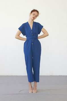 The product AIKO jumpsuit (washed indigo cotton) is sold by Heinui in our Tictail store. Dress For Summer, Bon Look, Sophisticated Outfits, French Fashion Designers, Mode Inspiration, Jumpsuits For Women, Long Jumpsuits, Look Fashion, Spring Summer Fashion