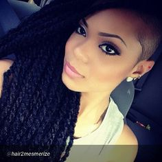 Twists and a shaved side. I love how people are doing these shaved looks.  It just looks so cool and urban. #NaturalHair