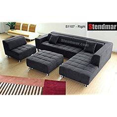 Amazon.com: 4pc Modern Dark Grey Microfiber Sectional Sofa Chaise Chair Ottoman S1107RDG: Kitchen & Dining