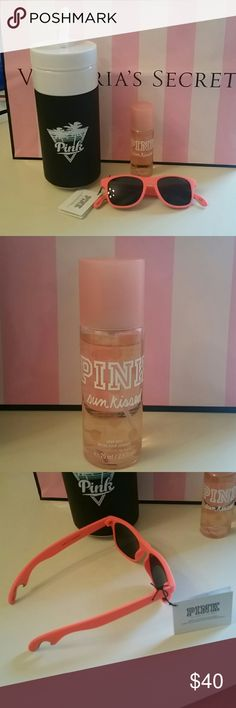 Pink Victoria's Secret Bundle NWT 32 fl.oz retro waterbottle in black 2.5 fl. Oz sun kissed body mist Bottle opener sunglasses in coral Smoke and pet free Home PINK Victoria's Secret Accessories
