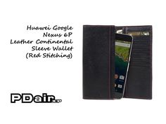 PDair Huawei Google Nexus 6P Leather Continental Sleeve Wallet (Red Stitching)