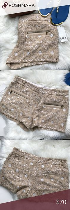 """RACHEL Rachel Roy Lace Shorts NWT white with tan lace overlay. Hook clasp and zipper closure. 3"""" inseam. Zippered front pockets. RACHEL Rachel Roy Shorts"""