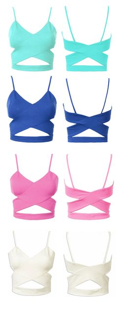 baby green,diamond blue,pink and white - cut out crop top -wardrobe essentials from choies.com.