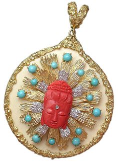 Coral Buddha pendant with diamonds and turquoise