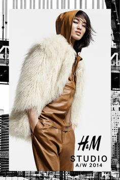 H&M Studio offeres up shaggy fur, metallic slips, and sequin-embellished tunics for its fall 2014 line, on Chiharu Okunugi and Ola Rudnicka. 2010s Fashion, Dope Fashion, Shirts & Tops, Fall Winter 2014, Autumn Winter Fashion, Winter Wear, Fall Fashion, Fashion Trends, H&m 2014
