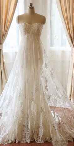 Lace Bridal, Strapless Lace Wedding Dress, Modest Wedding Dresses, Bridal Gowns, Wedding Gowns, Lace Dress, Pregnant Wedding Dress, Maternity Wedding, Pretty Dresses