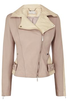 country | Cream Colour block leather jacket |