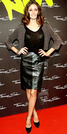 Who made  Olivia Palermo's black pumps, leather skirt and beaded jacket that she wore at Soho House in Berlin on December 2, 2010?