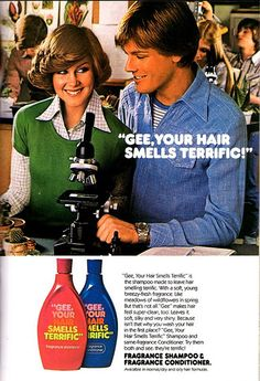 """Shampoo ad for """"Gee, Your Hair Smells Terrific"""" . popular in the ~~~ Gee, I do remember that shampoo! Vintage Advertisements, Vintage Ads, Vintage Stuff, Retro Advertising, Retro Ads, Vintage Logos, Vintage Labels, Vintage Posters, Ed Vedder"""
