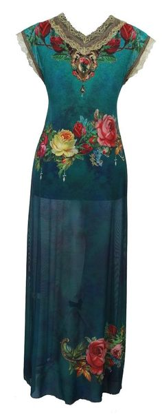 Michal Negrin - Stunning Cap Sleeves V-Neck Maxi Turquoise Dress