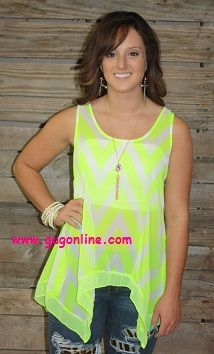Bowtiful Neon Yellow Chevron Top $26.95 Save 10% by using promo code GUGREPBRITT at checkout!  www.gugonline.com