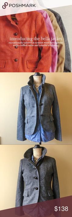 "J.crew Bella jacket irish wool herringbone Excellent condition! Gorgeous preppy blazer in irish wool. Leather buttons, ruffled collar can be folded down or stand up. Bust measures approx 36"" when buttoned, waist is 32"", l grab from shoulder seam to hem is 22"". Available in coral/orange too. J. Crew Jackets & Coats Blazers"