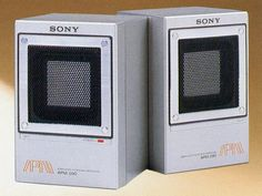 Sony APM-090 Battery Powered Amplified Portable Stereo Speakers, 1983