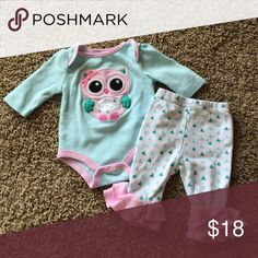 Newborn Outfit from Dillards Like New Pink and green OWL Starting Out  Matching Sets