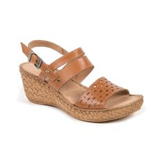 Moshulu sandals - Tan wedges with punch detail, Gooseberry Fool!