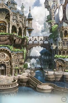 Architecture ~ Fantasy Landscape RPG gaming Fantasy SFF Dungeons & Dragons D&D DnD Tabletop Tabletop Gaming Sword & Sorcery gamer Fantasy City, Fantasy Castle, Fantasy Places, Fantasy Kunst, Sci Fi Fantasy, Fantasy World, Fantasy Village, Fantasy House, Final Fantasy Ix