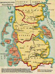 Sønderjylland i middelalderen - North Frisian Islands - Wikipedia Denmark Map, Geography Map, Beer Poster, Map Globe, Hero's Journey, Old Maps, Historical Maps, Historian, Genealogy